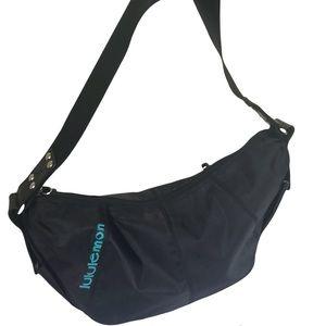 Lululemon RARE Shoulder Crescent Nylon Bag Satchel Bum Zip Pockets Logo Monogram